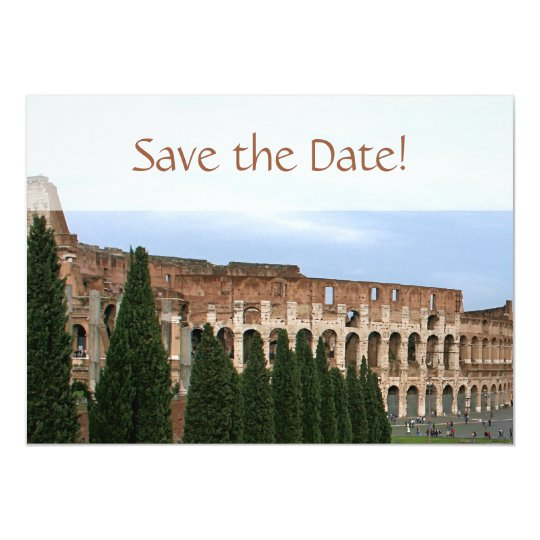 Personalised Colosseum Rome Italy Save the Date Card