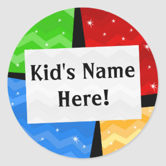 Personalised Colour Squares Kids School Name Round Sticker