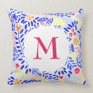 Personalised Colourful Watercolour Floral Cushion