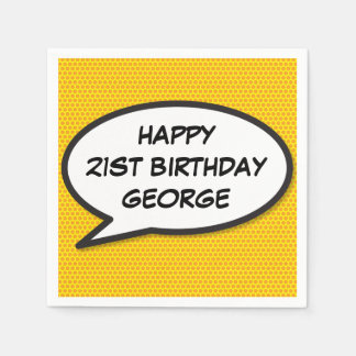 Personalised Comic Book Pop Art HAPPY BIRTHDAY Disposable Napkin