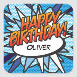 Personalised Comic Book Pop Art HAPPY BIRTHDAY Square Sticker