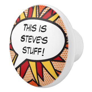 Personalised Comic Book Pop Art Speech Bubble Ceramic Knob