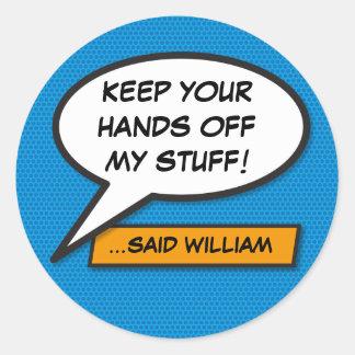 Personalised Comic Book Pop Art Speech Bubble Classic Round Sticker