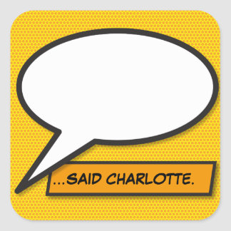 Personalised Comic Book Pop Art Speech Bubble Square Sticker