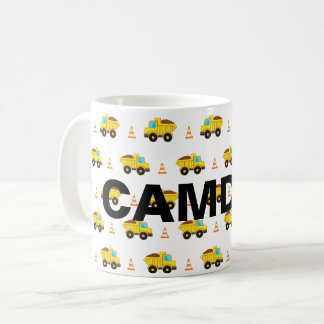 Personalised Construction Trucks pattern Coffee Mug