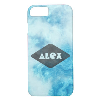 Personalised Cool blue marble iphone 7 case