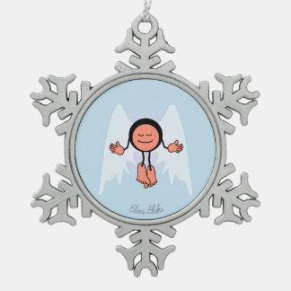 Personalised Cool Calm Angel Snowflake Pewter Christmas Ornament