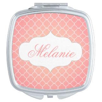 Personalised Coral Pink Quatrefoil Pattern Makeup Mirror
