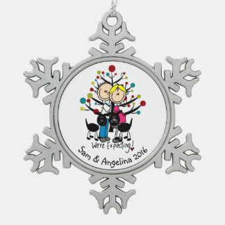 Personalised Couple, Boy, Dog Snowflake Ornament