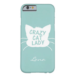 Personalised Crazy Cat Lady in Wavecrest blue Barely There iPhone 6 Case