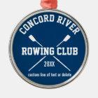 Personalised Crew Rowing Logo Oars Team Name Year Metal Ornament