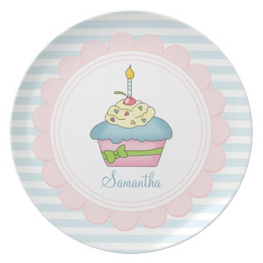 Personalised Cupcakes Blue Stripes With Pink Dinner Plates