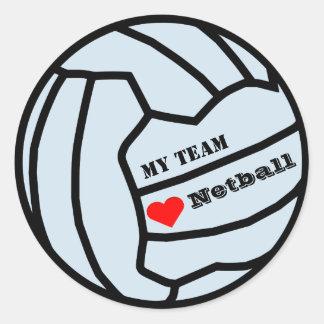 Personalised Custom Colour Love Netball Team Classic Round Sticker