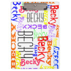 Personalised Custom Name Collage Colourful Clipboard
