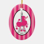 Personalised Custom Ornament Pink Poodle Paris