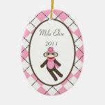 Personalised Custom Ornament Pink Sock Monkey
