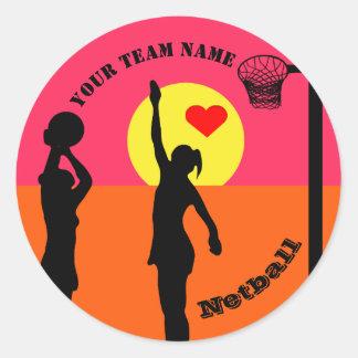 Personalised Custom Team Name Netball Classic Round Sticker