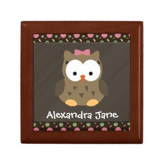 Personalised Cute Baby Girl Owl, Trinket/Gift Box