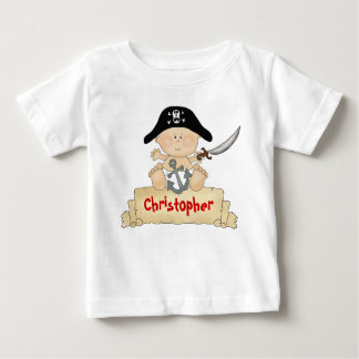 Personalised Cute Baby Pirate Boys Baby T-Shirt