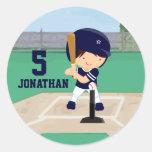 Personalised Cute Baseball cartoon player Round Stickers
