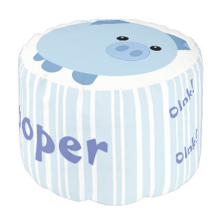 Personalised Cute Blue Chubby Pig Pouf