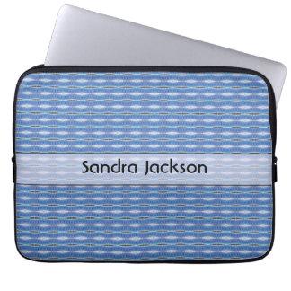 Personalised cute blue pattern laptop sleeve