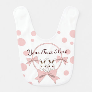 Personalised Cute Bunnies w/ Pink Ribbons Girls Bib