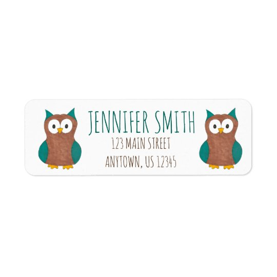 Personalised Cute Cartoon Owl Bird Address Labels
