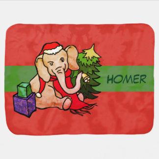 Personalised Cute Colourful Santa Cartoon Elephant Baby Blanket