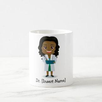 Personalised Cute Dark Complexion Female Doctor Coffee Mug