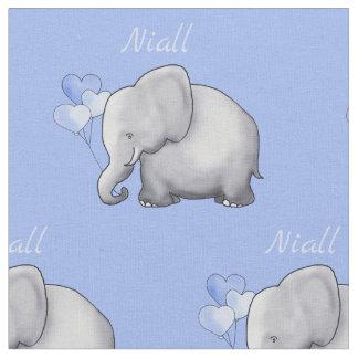 Personalised Cute Elephants Baby Boy Nursery Fabric