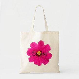 personalised cute girly pink flower girl bag