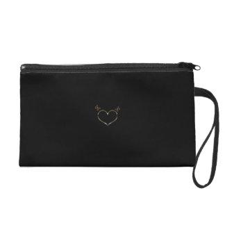 Personalised Cute Gold Heart Butterflies Black Bag