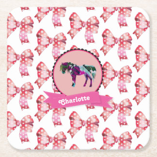 Personalised Cute Pink Modern Pony Square Paper Coaster