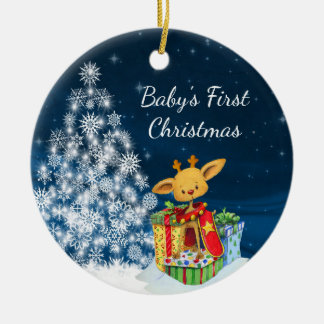 Personalised Cute Reindeer Baby's First Christmas Round Ceramic Decoration