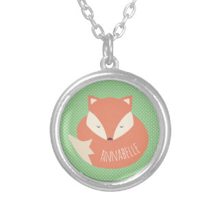 Personalised Cute Sleeping Fox Silver Plated Necklace