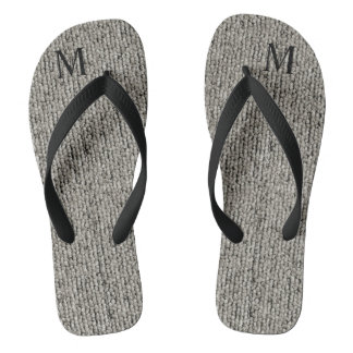 Personalised Cute Wool Gray Fabric Textured Thongs