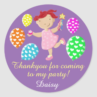 Personalised Daisy Cupcake Party Thank You Round Sticker