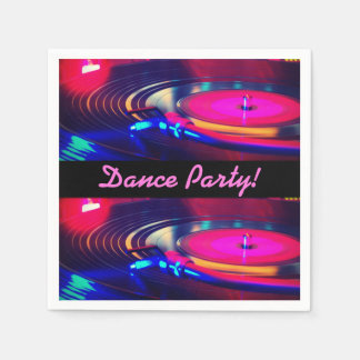 Personalised Dance Party Retro Turn Table Napkins Paper Serviettes