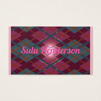 Personalised deep crimson embossed plaid business card