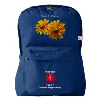 Personalised Diabetes Floral Medical Alert Backpack