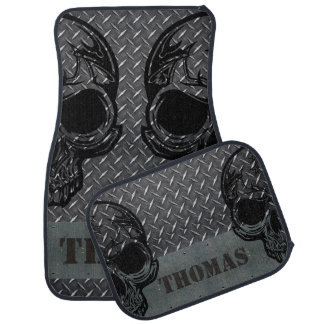 Personalised Diamond Plate with Half Skulls Car Mat