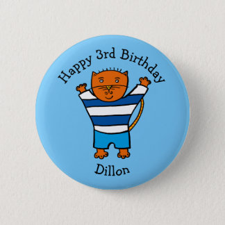 Personalised Dillon the Cat Happy Birthday 6 Cm Round Badge