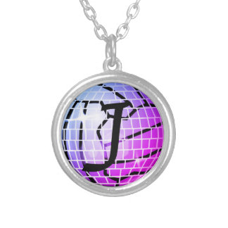 Personalised Disco Ball Print Netball Theme Silver Plated Necklace