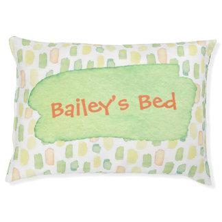 Personalised Dog Bed Watercolor Green Yellow Orang