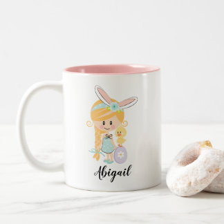 Personalised Easter Bunny Girl Chick Mug Blonde