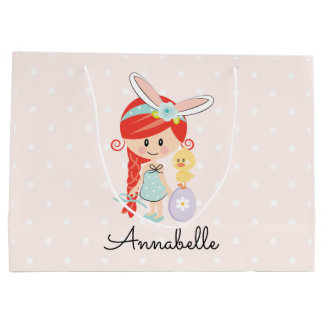 Personalised Easter Gift Bag Bunny Ears Redhead