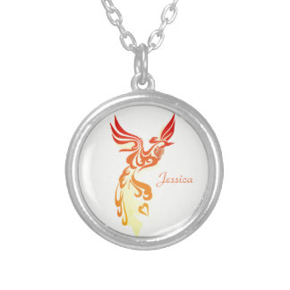 Personalised Elegant Fiery Phoenix Silver Plated Necklace