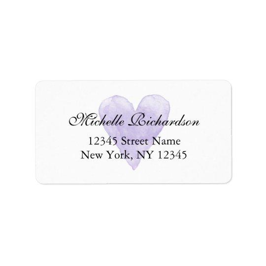 Personalised elegant purple heart address labels