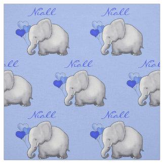 Personalised Elephant Baby Boy Nursery Fabric